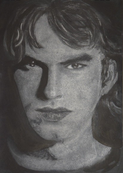 Sketch of Ashton - Chalk on Black Paper